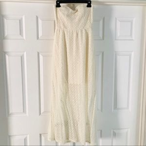 Off white lace strapless dress with open back